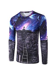Polyester Blå Medium Tre-kvart ermer,Rund hals T-skjorte Galakse Høst / Vinter Enkel Fritid/hverdag / Arbeid Herre