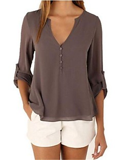 cheap -Women's Simple Cotton Blouse - Solid Colored V Neck
