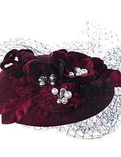 billige Trendy hatter-Dame Vintage Fest Bøttehatt,Vinter Vår Høst Lammeull Vin