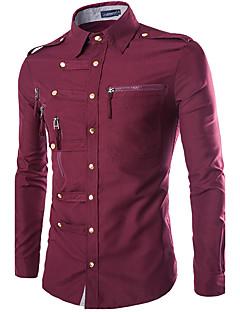 お買い得  メンズファッション&ウェア-男性用 シャツ 軍隊 レギュラーカラー スリム ソリッド コットン / 長袖