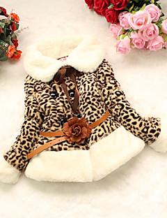 tanie Odzież dla dziewczynek-Odzież puchowa / pikowana Inne Dla dziewczynek Codzienny Cętki Zima Długi rękaw Wzór zwierzęcy Camel
