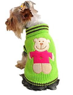billiga Hundkläder-Katt Hund Tröjor Hundkläder Tecknat Gul Röd Grön Akrylik Fiber Kostym För husdjur Herr Dam Gulligt Ledigt/vardag