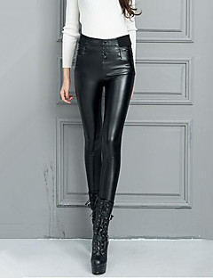 Women's High Rise Micro-elastic Skinny Chinos Pants,Sexy Solid PU Winter Fall