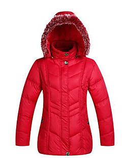 コート レギュラー ダウン レディース,カジュアル/普段着 プラスサイズ ソリッド ポリエステル ホワイトダックダウン-シンプル 長袖