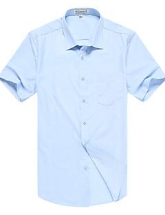 Rayon Modal Blå Hvit Lilla Flerfarget Medium Kortermet,Skjortekrage Skjorte Jacquard Sommer Enkel Fritid/hverdag Formelle Arbeid Herre