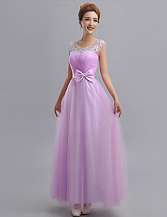 cheap Purple Passion-Sheath / Column One Shoulder Floor Length Tulle Bridesmaid Dress with Beading Appliques Bow(s) Sash / Ribbon Bandage by LAN TING BRIDE®