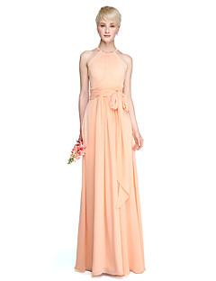 זול -מעטפת \ עמוד עם תכשיטים עד הריצפה שיפון שמלה לשושבינה  עם סרט סלסולים קפלים על ידי LAN TING BRIDE®