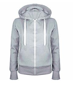 tanie Damskie bluzy z kapturem-Aktywny Bawełna Bluza z Kapturem - Jendolity kolor, Ponadgabarytowych / Jesień / Zima / Polarowa podszewka