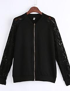Damen Solide Einfach Street Schick Ausgehen Lässig/Alltäglich Jacke,Kapuze Langarm Standard Polyester