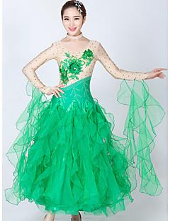 hesapli -Balo Dansı Elbiseler Kadın's Performans Splandeks Tül Kristaller / Yapay Elmaslar Ayrık Renkler Uzun Kollu Elbise Neckwear