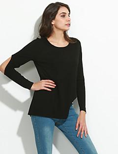 Χαμηλού Κόστους Classic Black Tops-Γυναικεία T-shirt Εξόδου Βασικό Μονόχρωμο