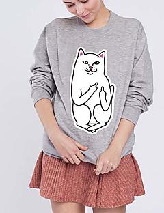 Women's Casual/Daily Sweatshirt Print Round Neck Micro-elastic Cotton Long Sleeve Fall Winter