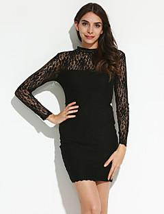 Χαμηλού Κόστους Little Black Dresses-Γυναικεία Εφαρμοστό Φόρεμα - Μονόχρωμο, Δαντέλα Ζιβάγκο