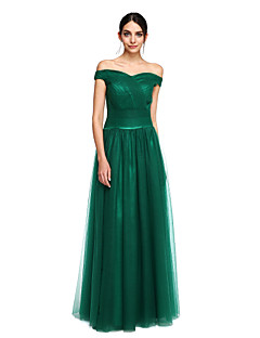 cheap Special Occasion Dresses-A-Line Off Shoulder Floor Length Tulle Stretch Satin Prom / Formal Evening Dress with Pleats by TS Couture®