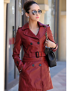 Women's Daily Wear Coats Spring Fall Leather Jacket,Solid Peaked Lapel Long Sleeves Long Polyester
