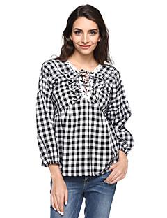 billige Plusstørrelser-V-hals Dame - Ruder Bomuld Plusstørrelser Skjorte