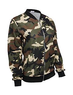 Damen camuflaje Einfach / Aktiv Lässig/Alltäglich / Sport Jacke,Herbst / Winter Rundhalsausschnitt Langarm Grün Polyester