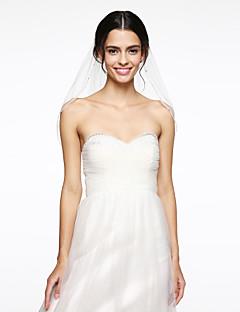 egysoros gyöngyös élű esküvői fátyol könyök fátyol, gyöngy háló esküvői kiegészítők