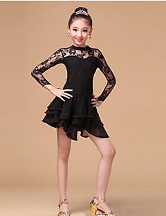 hesapli -Latin Dansı Elbiseler Çocuklar için Eğitim Dantel Włókno mleczne Dantel Fırfırlı 1 Parça Uzun Kol Yüksek Elbise
