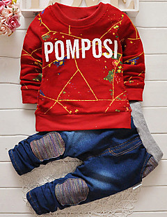 Boy Fashion Autumn New Round Collar Letter Head Top And Denim Trousers Two-Piece Shirt