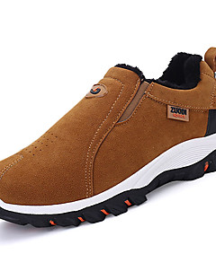 Erkek Atletik Ayakkabılar Rahat PU Bahar Sonbahar Dağ Yürüyüşü Rahat Düz Topuk Siyah Gri Sarı Düz