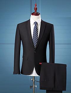 男性 カジュアル/普段着 ワーク プラスサイズ オールシーズン スーツ,シンプル ストリートファッション ノッチドラペル ソリッド ブラック コットン 長袖