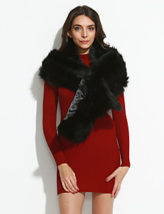 cheap Fashion Scarves-Women's Vintage Party Faux Fur Rectangle - Solid Colored