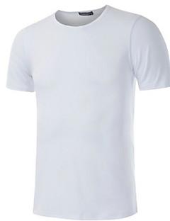 メンズ カジュアル/普段着 春 Tシャツ,ヴィンテージ シンプル ストリートファッション ラウンドネック ソリッド レーヨン 半袖 薄手