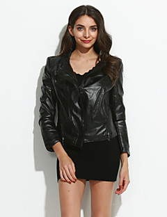 cheap Women's Furs & Leathers-Women's Chic & Modern Jacket-Solid Colored,Classic Style