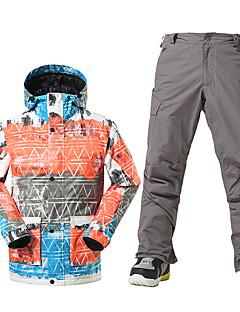 GSOU SNOW Лыжная куртка и брюки Муж. Катание на лыжах Зимние виды спорта Водонепроницаемость Сохраняет тепло С защитой от ветра Флисовая