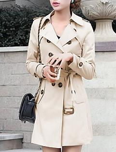女性 カジュアル/普段着 秋 ソリッド トレンチコート,シンプル ベージュ ブラック ポリエステル 長袖 ミディアム
