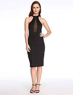 Χαμηλού Κόστους Little Black Dresses-Γυναικεία Κλαμπ Θήκη Φόρεμα - Μονόχρωμο, Με κοψίματα Ως το Γόνατο Δένει στο Λαιμό