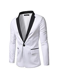 남성 컬러 블럭 딥 V 긴 소매 블레이져,스트리트 쉬크 캐쥬얼/데일리 화이트 블랙 면 봄 가을