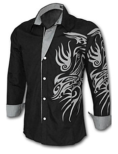 Men's Daily Plus Size Casual Spring Fall Shirt,Solid Print Long Sleeves Cotton Polyester
