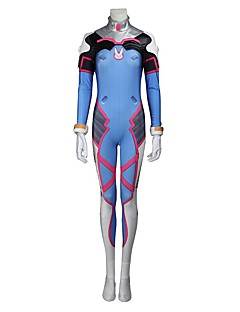 cheap Videogame Costumes-Inspired by Overwatch D.Va Video Game Cosplay Costumes Cosplay Suits Cosplay Tops/Bottoms Geometric Leotard/Onesie Gloves More Accessories