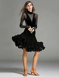 tanie Stroje do tańca latino-Taniec latynoamerykański Outfits Damskie Wydajność Aksamit Łączenie Falbany Długi rękaw Naturalny Trykot opinający ciało / Śpiochy dla