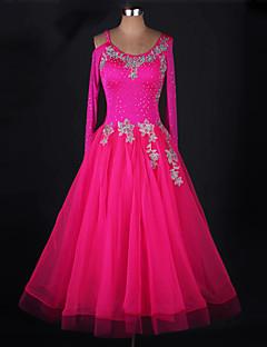 hesapli -Balo Dansı Elbiseler Kadın's Performans ChinIon Organze Aplik Kristaller / Yapay Elmaslar Uzun Kollu Elbise