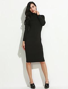tanie Sweater Dresses-Damskie Bawełna Linia A Sukienka - Jendolity kolor Golf Do kolan / Jesień / Zima