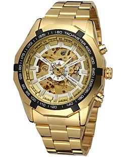 billige Høj kvalitet-FORSINING Herre Armbåndsur Mekanisk Ur Automatisk Selv-optræk Guld Hul Indgravering Analog Luksus Mode - Guld Hvid Sort