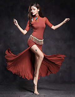 cheap Belly Dance Wear-Belly Dance Dresses Women's Performance Modal Tulle Splicing Split Front Half Sleeves Natural Dress