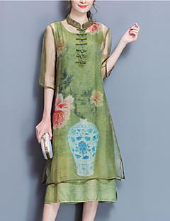 Χαμηλού Κόστους Φορέματα Μεγάλα Μεγέθη-Γυναικεία Βίντατζ Μεγάλα Μεγέθη Εξόδου Γραμμή Α Μίντι Φόρεμα Στάμπα Άνοιξη Καλοκαίρι Όρθιος Γιακάς