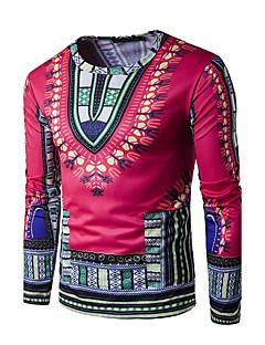 billige Herremote og klær-Bomull Rund hals T-skjorte Herre - Geometrisk, Trykt mønster Aktiv overdrevet Bohem Sport