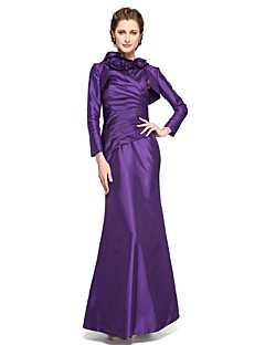 cheap Mother of the Bride Dresses-Mermaid / Trumpet High Neck Ankle Length Taffeta Mother of the Bride Dress with Pleats Flower by LAN TING BRIDE®