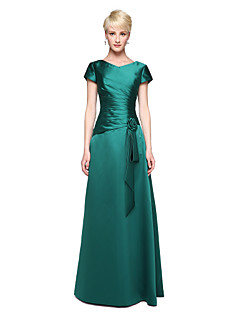 cheap Green Glam-A-Line V Neck Floor Length Satin Bridesmaid Dress with Pleats Flower by LAN TING BRIDE®