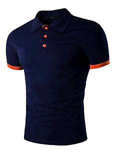 Men's Sports Going out Casual Active Summer Polo,Solid Shirt Collar Short Sleeves Cotton