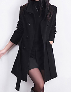 Women's Daily Work Sexy Street chic Winter Spring Trench Coat,Solid Stand Long Sleeve Long Wool