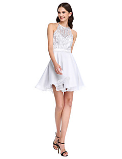 cheap Bridesmaid Dresses-A-Line Jewel Neck Short / Mini Lace Organza Bridesmaid Dress with Beading Appliques Sash / Ribbon by LAN TING BRIDE®