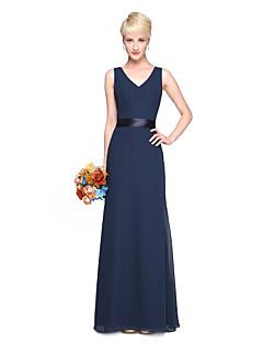 cheap Long Bridesmaid Dresses-Sheath / Column V Neck Floor Length Chiffon Bridesmaid Dress with Sash / Ribbon Pleats by LAN TING BRIDE®