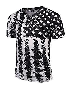 billige Plus Størrelser-Herre-V-hals Herre Bomuld,Trykt mønster Aktiv Punk & gotisk Gade Fest Sport Natklub T-shirt