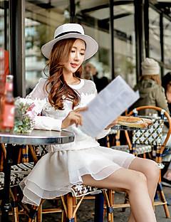 Kadın A Şekilli Solid Tül Katmanlı Etekler,Basit Sevimli Sokak Şıklığı Dışarı Çıkma Günlük/Sade Tatil,Yüksek Bel Mini פוליאסטר Spandeks